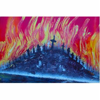 colina con el fuego de las cruces spraypainting