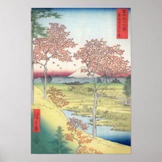 Colina de la puesta del sol de Hiroshige, Póster