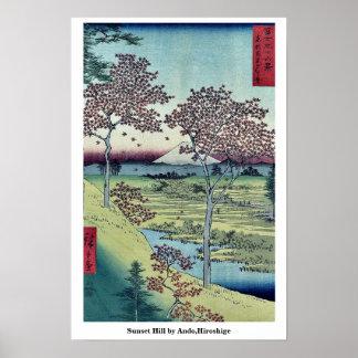 Colina de la puesta del sol por Ando, Hiroshige Poster