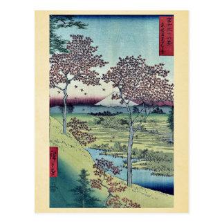 Colina de la puesta del sol por Ando, Hiroshige Tarjetas Postales