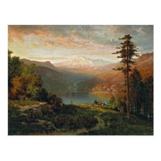 Colina de Thomas - indio por un lago en un Tarjeta Postal