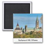 Colina del parlamento en el otoño, Ottawa Imán Cuadrado