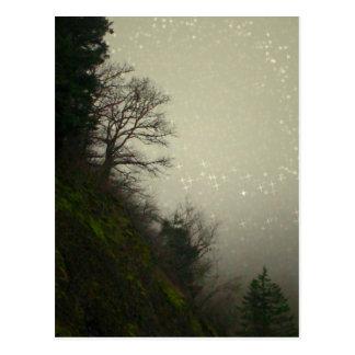 Colina mágica del bosque de la niebla postales