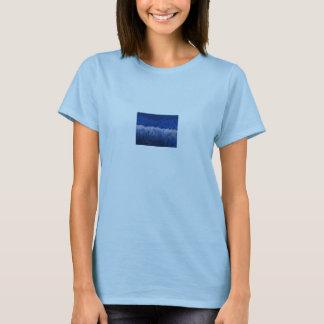 Colinas azules, lirios de agua, puesta del sol, playera