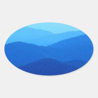 Colinas azules pegatina ovalada