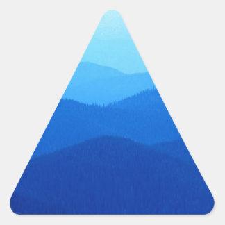 Colinas azules pegatina triangular