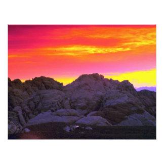 Colinas de Calco, puesta del sol Tarjetones