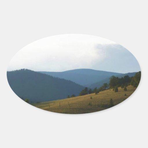 Colinas de Colorado Pegatinas De Óval Personalizadas