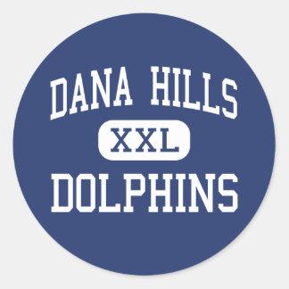 Colinas de Dana - delfínes - altas - Dana Point Etiqueta Redonda