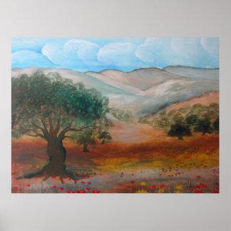Colinas de Judea, bosque de Ben Shemen, Israel Póster