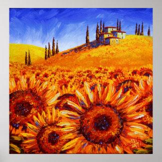 Colinas del girasol de Toscana Posters