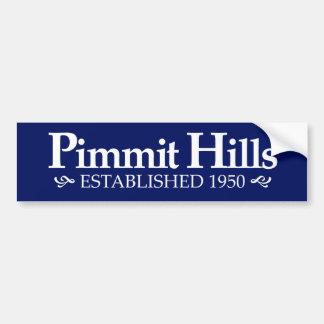 Colinas Est de Pimmit. Pegatina para el parachoque Etiqueta De Parachoque