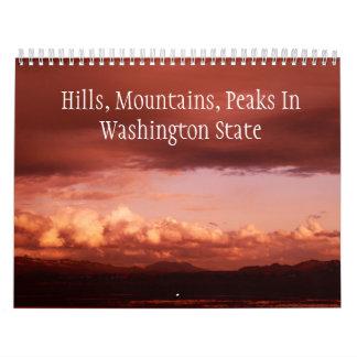Colinas, montañas, picos en el estado de calendario