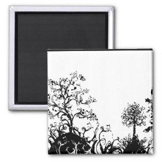 Colinas negras y blancas de la fruta de árboles de imán cuadrado