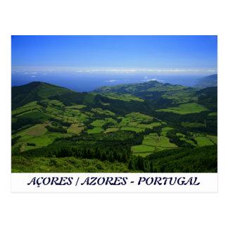 Colinas verdes - islas de Azores Tarjetas Postales