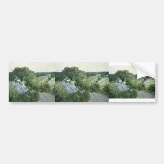 Colinas verdes y tierras de labrantío por el verte pegatina para auto