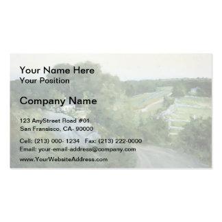 Colinas verdes y tierras de labrantío por el verte plantilla de tarjeta de visita