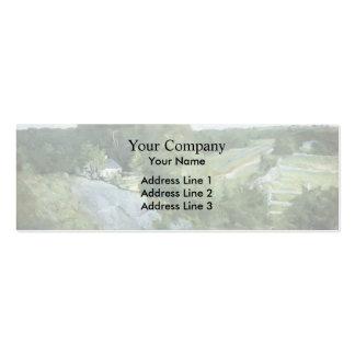 Colinas verdes y tierras de labrantío por el verte plantilla de tarjeta personal
