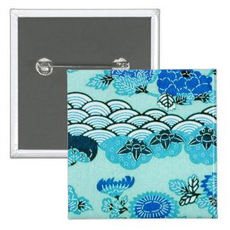 Colinas y flores azules pin cuadrada 5 cm