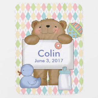 Colin's Good News Bear Personalized Gifts Stroller Blanket