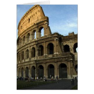 Coliseo en la puesta del sol tarjeta de felicitación