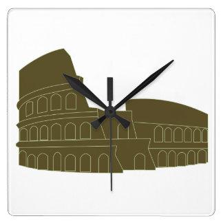 Coliseo en Roma Reloj Cuadrado