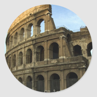 Coliseum at sunset classic round sticker
