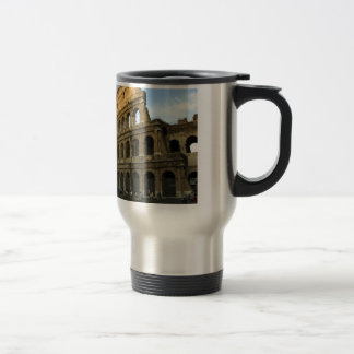 Coliseum at sunset travel mug