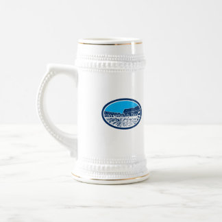 Coliseum Colosseum Rome Oval Woodcut 18 Oz Beer Stein