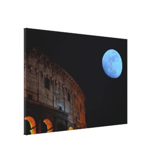 Coliseum of Rome in Moonlight Stretched Canvas Prints