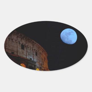 Coliseum of Rome in Moonlight Oval Sticker