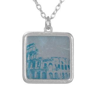 Coliseum Rome Square Pendant Necklace