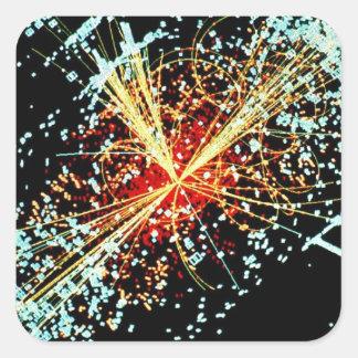 Colisión de LHC Pegatina Cuadrada