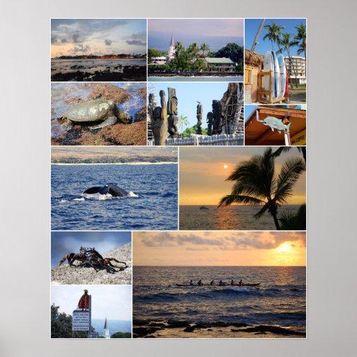 Collage 16 x de Kailua Kona Hawaii poster 20