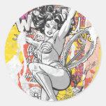 Collage 1 de la Mujer Maravilla Pegatina Redonda