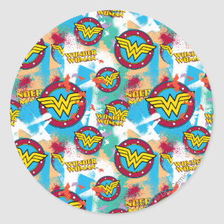 Collage 1 del logotipo de la Mujer Maravilla Pegatina Redonda