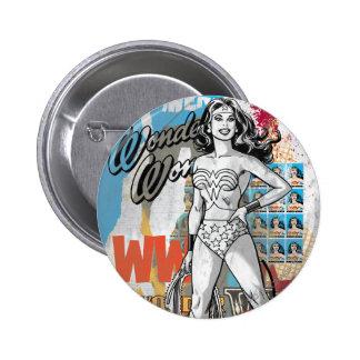 Collage 2 de la Mujer Maravilla Pin Redondo De 2 Pulgadas