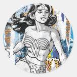 Collage 4 de la Mujer Maravilla Etiquetas Redondas