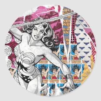 Collage 5 de la Mujer Maravilla Pegatina Redonda
