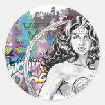 Collage 6 de la Mujer Maravilla Etiqueta Redonda