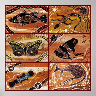 Collage aborigen del arte impresiones