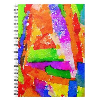 Collage abstracto colorido hermoso fresco libreta espiral