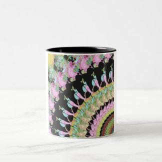 Collage abstracto de colores taza de dos tonos