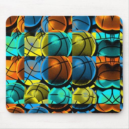 Collage abstracto de los baloncestos tapetes de raton