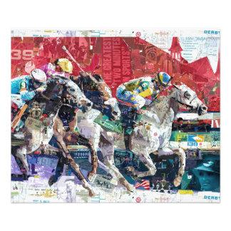 Collage abstracto de los caballos de raza cojinete