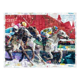 Collage abstracto de los caballos de raza tarjeta postal