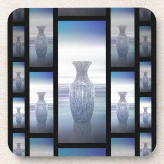 Collage abstracto de los floreros posavasos