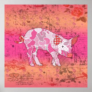 Collage abstracto locuaz el cerdo ID111 Póster