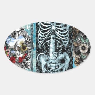 Collage adornado del cráneo pegatina ovalada