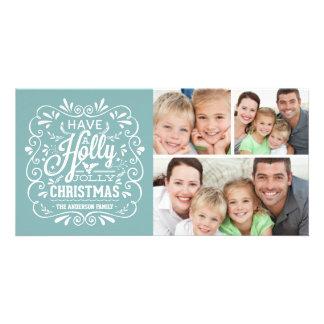 Collage alegre de la pizarra 3-Photo del navidad Tarjeta Fotografica Personalizada